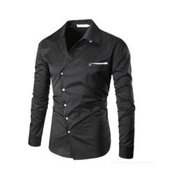 Chemise à manches longues blanche de style européen et américain de mode irrégulière hommes chemise homme Slanting porte ? partir de fabricateur