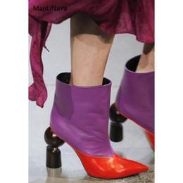 6a8ae13e Tacones de madera sin emparejar geométricos Botas mujer Runway Diseño de  marca Zapatos de mujer Estilo extraño Resbalón en punta estrecha Botas  femeninas ...