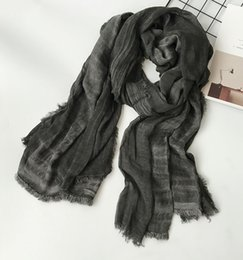 Wholesale Japanese Linen Fashion - 2017 Japanese Unisex Style Winter Scarf Cotton And Linen Solider Color long women's scarves shawl fashion men scarf