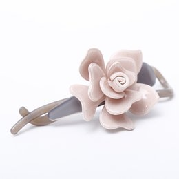 Wholesale Korea Fashion Hair Clip - Hot Sale Middle hair pins and clips Korea Pink flower hair barrettes French Acetate Blooming Flower Fashion Hairpins SA011