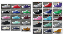 Wholesale Top Wholesalers Shoes - size 35-46 New Unisex Low-Top & High-Top Adult Women's Men's star Canvas Shoes 15 colors Laced Up Casual Shoes Sneaker shoes