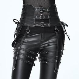 pantalones de cuero punk de las mujeres Rebajas Heavy Punk Personality Rivet Pants Set Steampunk Women PU Leather Belt Accesorio Diseño único Black Slim Fit Hebilla Cinturones