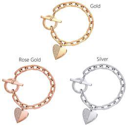 Exquisite gold armband online-Liebe Armband Mode Exquisite Designer Armband Gliederkette Polieren Kristall Goldsplitter Rose Gold Handgelenk Armband Trendy Herz