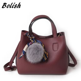 Wholesale Leather Pieces Black - Bolish Litchi Pattern Soft PU Leather Women Handbag Two Pieces Female Shoulder Bag Girls Messenger bag Casual Women Bag