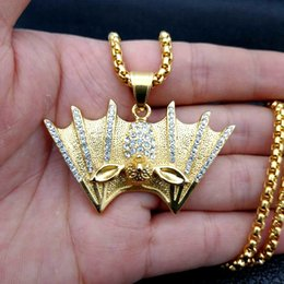 2019 diamante vampiro 2018 estilo creativo accesorios de hip hop, acero titanium grueso oro lleno de diamante vampiro murciélago collar colgante envío gratis diamante vampiro baratos