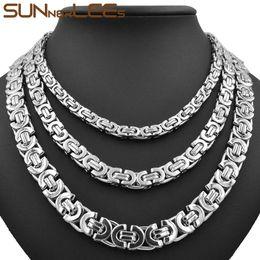 Joyería de moda collar de acero inoxidable 6 mm 8 mm 11 mm caja de cadena de enlace bizantino de color plata para hombre para mujer SC07 N desde fabricantes