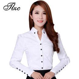 6d18b473233818 Discount office blouse designs women - TLZC Elegant Women Career White  Shirts Size S-2XL