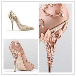 розовые выпускные каблуки Скидка новый Ralph Russo розовое золото burgundy Комфортабельный конструкторСвадебная обувь для новобрачных Silk stain eden Каблуки для свадебных вечерних туфель