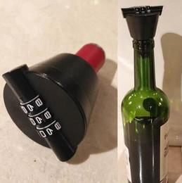 Wholesale Plastic Wine Cork Stoppers - Red Wine Bottle Stopper Cork Password Cork Lock Combination Locks Code Bottle Stopper Homebrew Red Wine Tools OOA4344