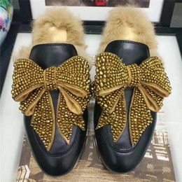 Wholesale Free Mules - 2018 Women Luxurious Crystal Bowknot Fur Slippers Fashion Winter Mules Shoes Genuine Leather Brand Moccasins Free Shipping Size 35-41