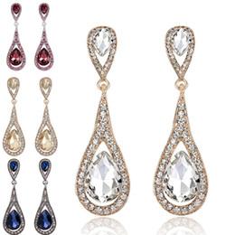 Candelabros de cristal de bohemia online-Pendientes de gota de agua de cristal de diamante Pendientes cuelgan araña Regalo de la joyería de boda para las mujeres Envío de la gota de moda