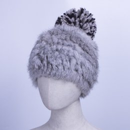 f0d73250e48 rabbit fur hats for women Promo Codes - Casual Girls Caps Hats Winter  Knitted Rabbit Fur