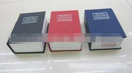 casiers Promotion MINI Taille Simulation Dictionnaire Livre Coffre-fort Cash Money Bijoux Accueil Secret Locker Boîte De Rangement Cas avec une serrure à clé 3 Couleurs 48pcs / lot