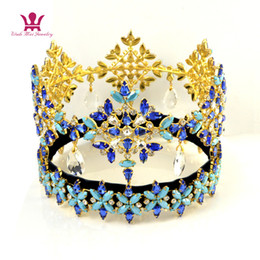Rhinestone crown blue online-Miss World Pageant Crowns Global Full Round Dangle Colgante Cristal Rhinestone austriaco Azul Color Mezcla Hairdress Tiaras High Grade mo233