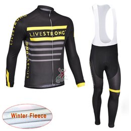 Wholesale Cycling Jersey Customize - LIVESTRONG Cycling Winter Thermal Fleece jersey (bib) pants sets Jerseys suit Bike Windproof Comfortable Quick-drying Team Customize c1725