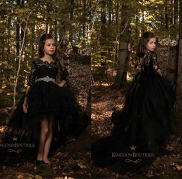 Wholesale children prom dresses girls - Black High Low Long Sleeve Flower Girl Dresses Lace Applique Ruffles Girls Pageant Gowns Children A Line Kids Prom Party Dress