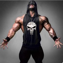 Chaleco cráneo hombres online-6 colores Skull Golds Bodybuilding Stringer Tank Tops hombres Gyms camisa Stringer Fitness Tank Top hombres gimnasios ropa algodón chaleco con capucha para hombre