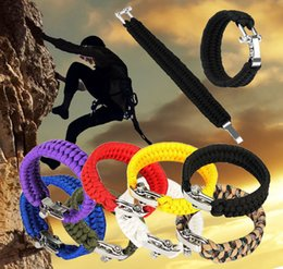 Wholesale Outdoor Climbing Rope - Survival Rope Paracord Bracelet Outdoor Camping Hiking Steel Shackle Buckle Pop Climbing Rope Rescue Cord DDA140