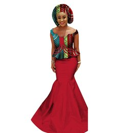 9467b5410a6 BRW 2018 African Women Suits Bazin Riche Plus Size Print 2 Piece Skirt Set Traditional  African Clothing for Girls WY1167