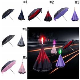 Wholesale led umbrella rain - LED Inverted Umbrella Travel Reverse Folding Car with Roadside SOS Warning Flash LED-Handle Rain Umbrella 30pcs OOA4506