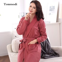 dfa50e689c Wholesale- Sleep Robes For Women Autumn Bathrobes Long Sleeve Cotton Robe  Women s Sleepwear Dressing Gown Plus Size 3XL