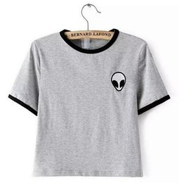 Wholesale fitted t s - Fashon Alien T Shirts For Women Loose Fit T-shirt Short Sleeve Tee Shirt Casual Crop Top Tshirt