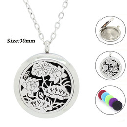 Wholesale Diamond Necklace Pendant Designs Silver - Free with Chain as Gift! Wholesale 30mm Magnetic Silver Lotus Design 316L Stainless Steel Aroamtherapy Perfume diffuser Locket Necklace