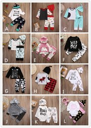 Wholesale Stripes Pajamas - 12 Style Baby INS Stripe Letter Flower Suit Kids Toddler Infant Casual Long Sleeve T-shirt+trousers Outfit Pajamas Newborn Baby Clothes 2017