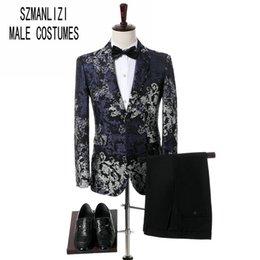 Wholesale Colorful Mens Suits - Groom Wear Shawl Lapel 2 Pieces Blue Black Flower Floral Suit Colorful Mens Tuxedo Wedding Prom Suits Best Man Coat With Pants