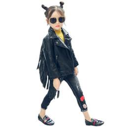 Borlas de moto online-chaqueta caliente de la PU de los niños del invierno del otoño, solapa de la manera de la muchacha de 2-7 años, cuero de la borla, chaqueta de cuero de la motocicleta