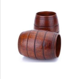 chá japonês canecas Desconto Barril de madeira em forma de caneca de cerveja copo de cerveja de madeira crestive frango bar drinkware copo de vinho portátil de madeira tumbler