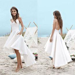 robe mignonne en mousseline de soie Promotion Summer Beach High Low robes de mariée bretelles spaghetti une ligne courte avant long dos en arrière blanc en mousseline de soie robes de mariée