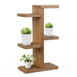 Rayonnage pour stockage en Ligne-Support de stockage, mini support pour plante, support de planteur succulente à plusieurs niveaux en bois pour présentoir de tabouret