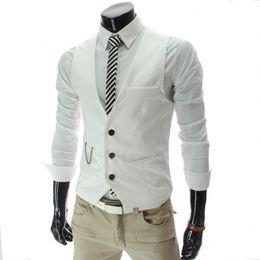 Wholesale Stylish Groom Vests - LEFT ROM 2017 stylish men fall slim fit high-end business suit vest Male leisure v-neck cotton vest groom dress Black formal