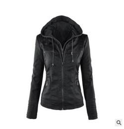 короткая кожаная куртка с капюшоном Скидка Модные женские PU кожаные куртки с капюшоном куртки Пальто плюс размер S-6XL Модные молнии шить короткие кожаные куртки