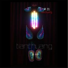 1487ae914d8 vêtements en fibre optique Promotion TC-79 polychrome LED lumière colorée  robot hommes costumes led