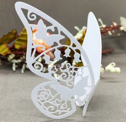 Wholesale laser lights for parties - Butterfly Seating Cards Laser Cut Hollow Paper Name Card For Party Wedding Place Cards Wedding Table Decorations PC0003