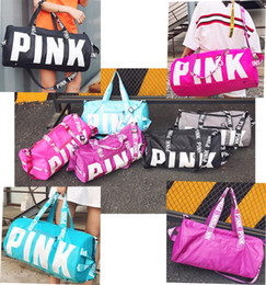 Wholesale Colorful Soccer - Fashion Pink Letter Handbags Travel Bags Beach Bag Duffle Striped Shoulder Bags Large Capacity Waterproof Fitness Yoga Bags Colorful