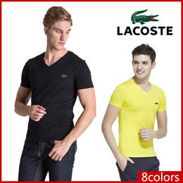 Hombres v cuello camisetas online-Polos de los hombres de la moda de alta calidad 6XL marca de cocodrilo para hombre Francia diseñador camisetas moda ropa hombres camiseta polo camisas poloshirt TEE
