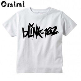 Wholesale Funny Band Shirts - Boys Girls Blink 182 Rock Band Smiley Face Design T Shirt Kids Great Casual Short Sleeve Tops Children's Funny T-Shirt