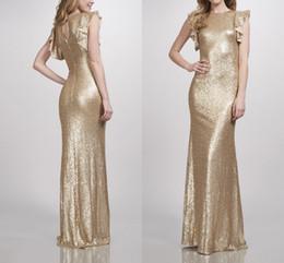 Matte Ouro Sequins Vestidos dama de honra Grupo Mermaid dama de honra vestido de festa vestido de noiva 2019 Novas vestes chegada de demoiselle d'honneur de