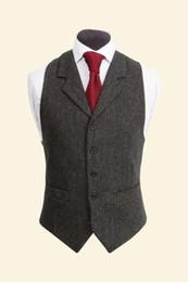 Wholesale Satin Groom Vests - Vintage Black Wool Tweed Vests Slim Mens Suit Vests Custom Made Sleeveless Suit Jacket Men Wedding Waistcoat Mens Dress Vest Groom Vest