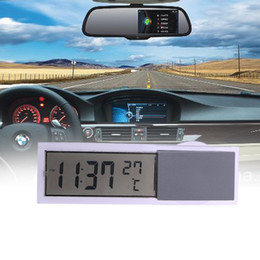 suction cup clock Promo Codes - Auto Car 2 in 1 Digital LCD Clock Thermometer with Suction Cup thermometer clock for car LED digital car-styling
