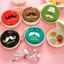 Wholesale cable storage boxes - Creative Iron Bearded Mini Portable Storage Bag Round Coin Purse Key coin Boxes Earphone Headphones data Cable Charger boxes Package