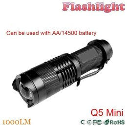 Wholesale Led Bicycle Mini Light - ZK30 1000LM LED Flashlight LED CREE Q5 Mini Bicycle Light LED Bike Light Front Torch 3 Modes Zoomable Light Waterproof Free Shipping