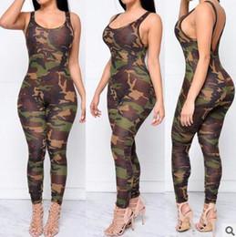 Costume de l'armée en Ligne-Femmes Combinaison Sexy Romper Armée Camouflage Body Bodycon Col Rond Long Pantalon Sans Manches Costume Femme Combinaisons