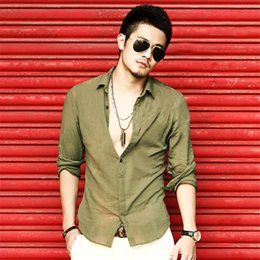 Wholesale Black Linen Blouse - New Cool Men's Cotton Linen Casual Shirt Fashion Brand Clothing Slim Cotton Camisa Long Sleeve Camisas Shirts Social Blouse Men