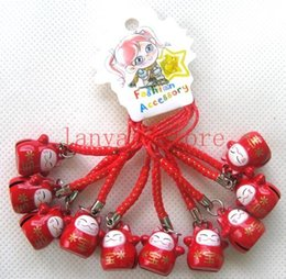 Wholesale maneki neko strap - Red Cute Japan Maneki Neko Lucky Cat Hanging Charm   Cell Phone Strap
