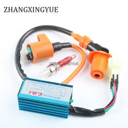 Wholesale Racing Cdi Gy6 - Scooter Performance 6 pin Racing CDI Ignition Coil Spark Plug GY6 50cc 125cc 150cc Moped ATV 139QMB 152QMI 157QMJ Scooter Parts