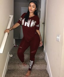 Wholesale Running Race Shirt - Plus Size XXXL Letter Print Tracksuits Women Two Piece Set 2018 Spring Street T-shirt Tops and Jogger Set Suits Casual 2pcs Outfits